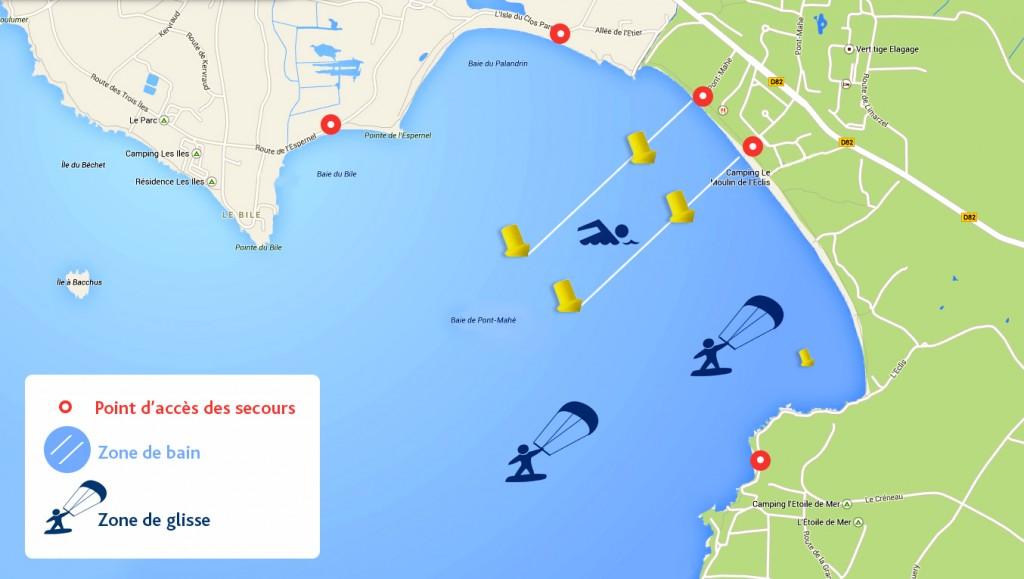 pont mahé zone de kite, planche à voile et stand-up paddle SUP zone de bain